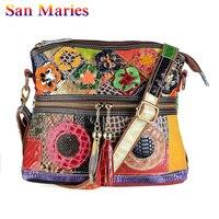 San Maries Tassel Flower Patchwork Crossbody Bags Patent Leather Women Snake Pattern Messenger Bag 2019