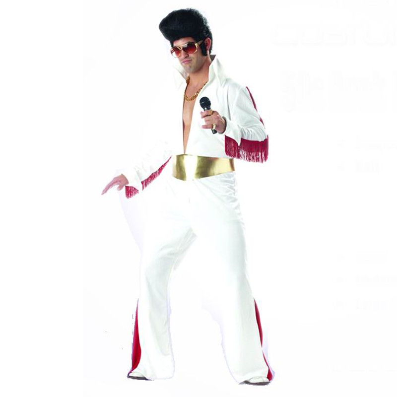Hot Qijun New Cosplay Halloween costume Singer Elvis Presley costume jumpsuit