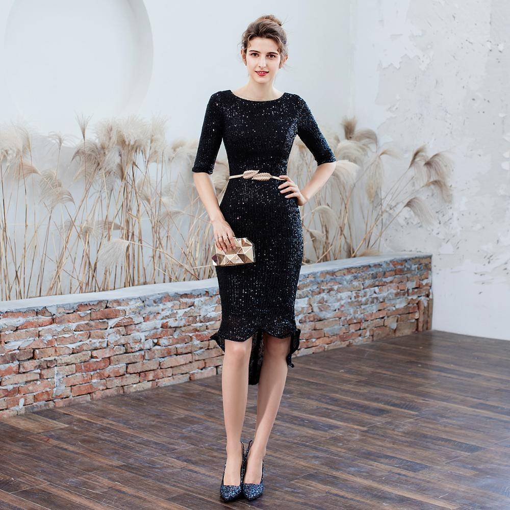 Black Sequins Cocktail Dresses New Arrival Sexy O Neck Spaghetti Straps Party Gown Bodycon Vestido Coctel Corto LF468