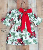 Retail Free Shipping 2018 Autumn New Children S Wear Christmas Baby Children Big Bow Dress