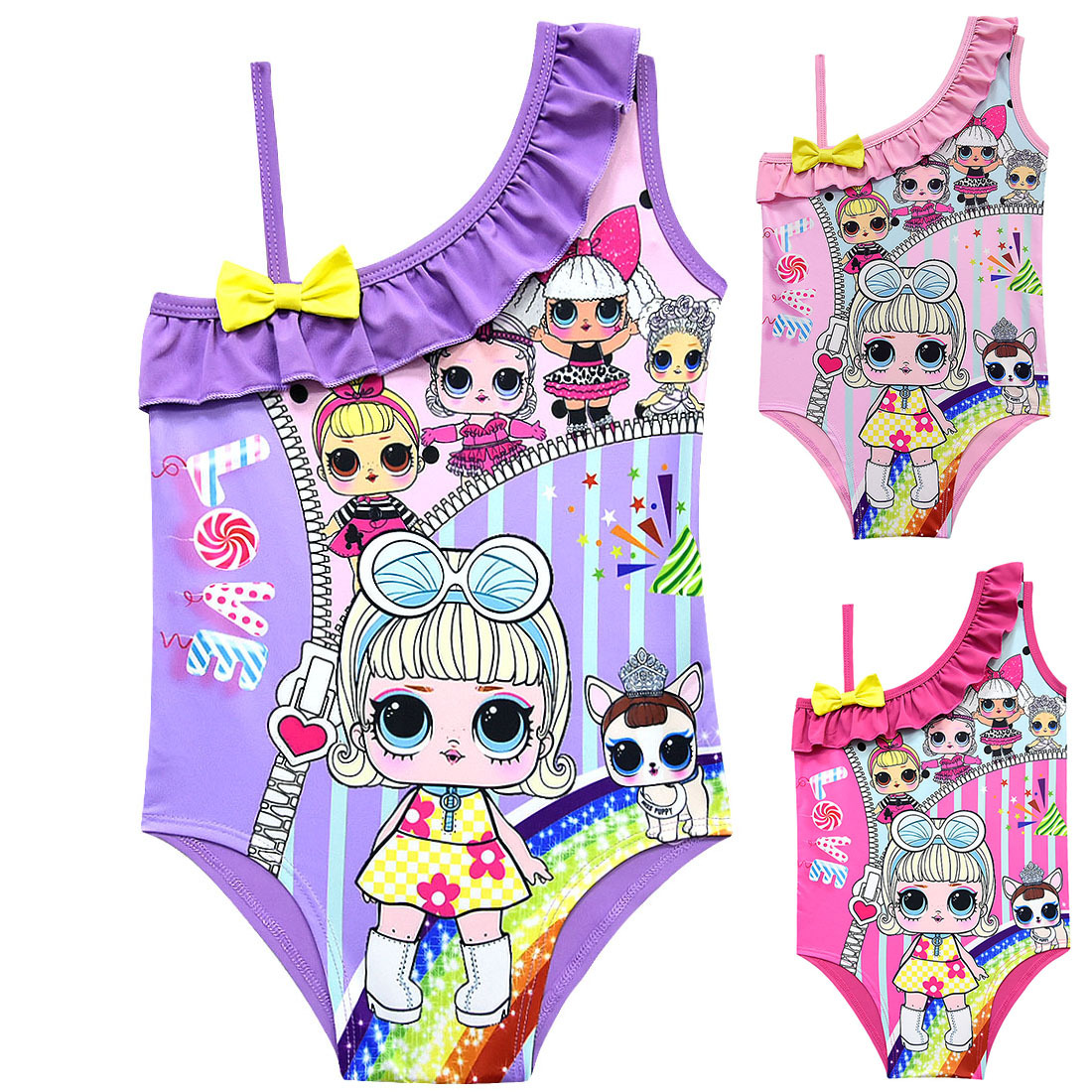 Swimsuit girl summer shoulder doll cartoon one-piece swimsuit cute cartoon beachwear children swimwear bow girl bikini beach(China)