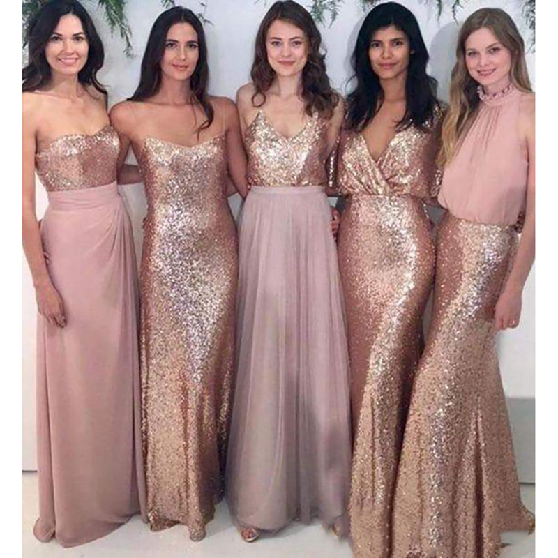 2019 Mermaid Many Styles Rose God Sequins   Bridesmaid     Dresses   Differents Styles Same Color