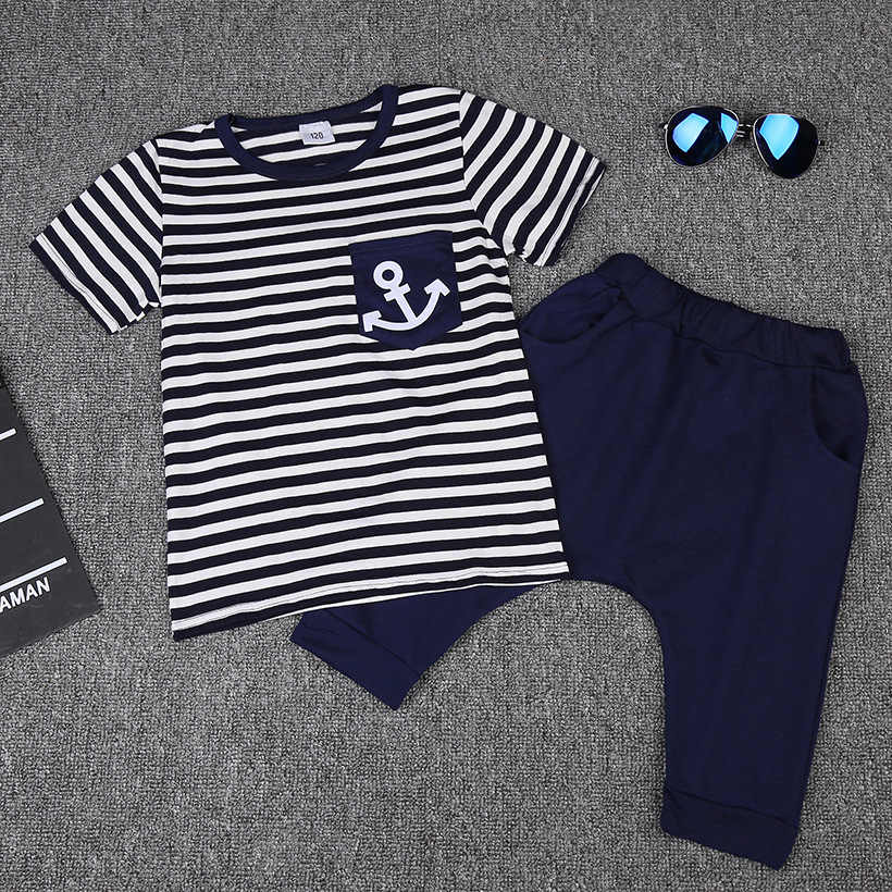 Infant Baby Girl Clothes Striped Fly Sleeve Top Shirt Navy Shorts Outfit Set