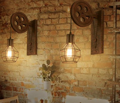 Vintage Loft Rustic Wrought Iron Wheel Wall Lamp Bedside Light with E27 Edison Bulb For Bar Cafe Applique Murale Luminaire