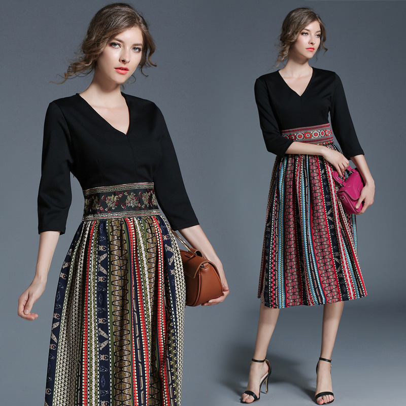 UTMEON Spring Summer Black Top Chiffon Patchwork Dresses Beach Casual Holiday Long Dress Ethnic Printing Chiffon Hem Midi Dress