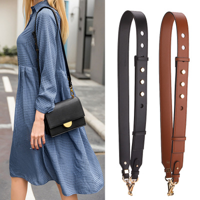 Simple Pu Leather Wide Shoulder Strap Solid Color Adjustable Length Rivet Fashion Brand Luxury Women Bag Accessories Handbag