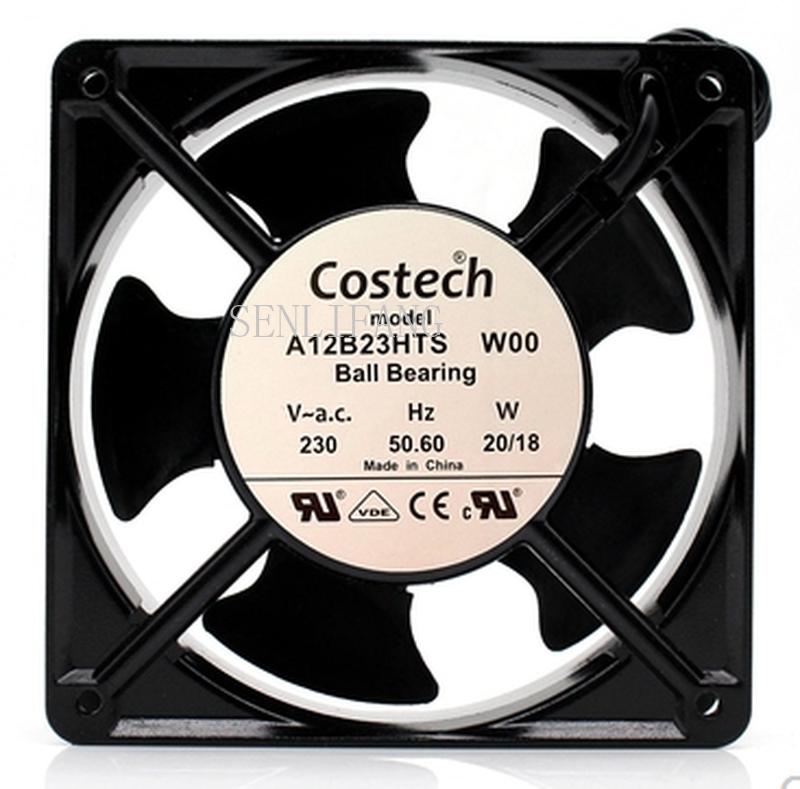 Free Shipping For Costec A12B23HTS AC 230V 20.00W 120x120x38mm 2-Wire Server Square Fan