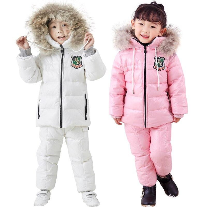 Hiver Enfants de costume doudoune deux-pièce garçon et une fille en bas veste bib-30 sortie de l'hiver ski costume Épaissi vers le bas veste