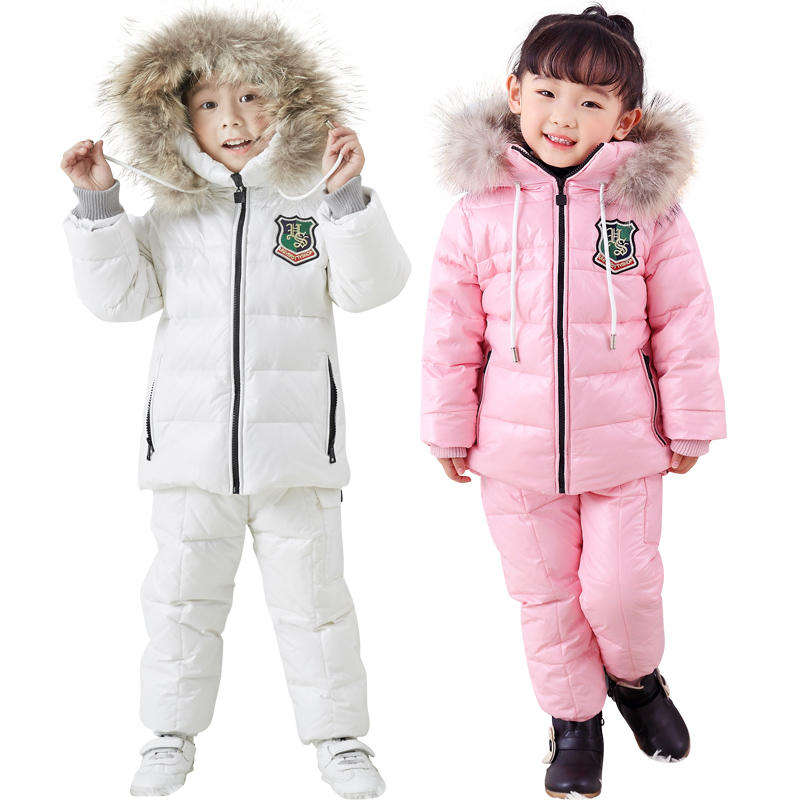 winter Children's suit down jacket two piece boy and girl down jacket  bib  30 winter outing ski suit Thickened down jacket -in Clothing Sets from Mother & Kids
