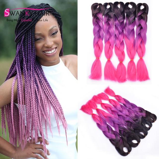 Black Purple Pink Kanekalon Braiding Hair Synthetic Extension High Temperature Fiber Jumbo