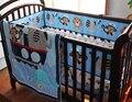 Bordado Macaco elefante de navegação azul mar baleia bebê jogo de cama Saia Capa de Colchão 7 pcs berço cama conjunto quilt bumper