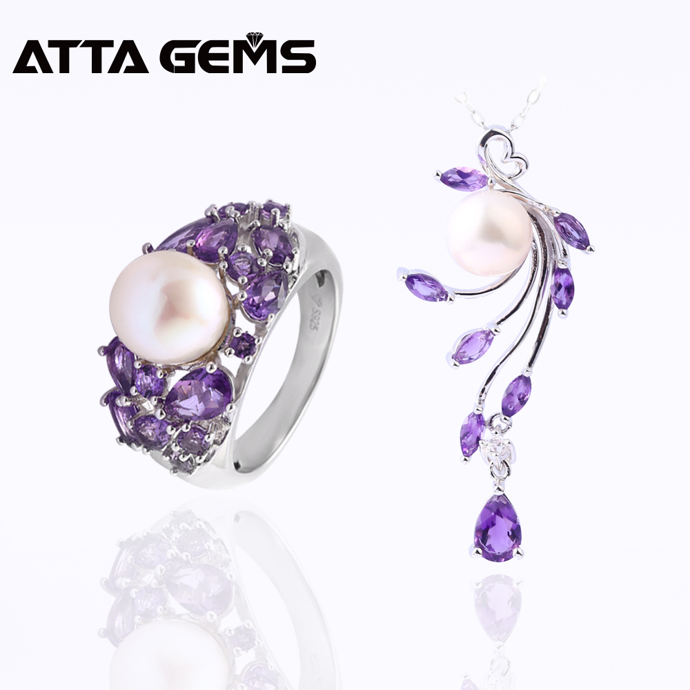 Natural Amethyst Sterling Silver Rings Pendants for Women Wedding Jewelry 8 Carats Natural Amethyst Pearl Mother