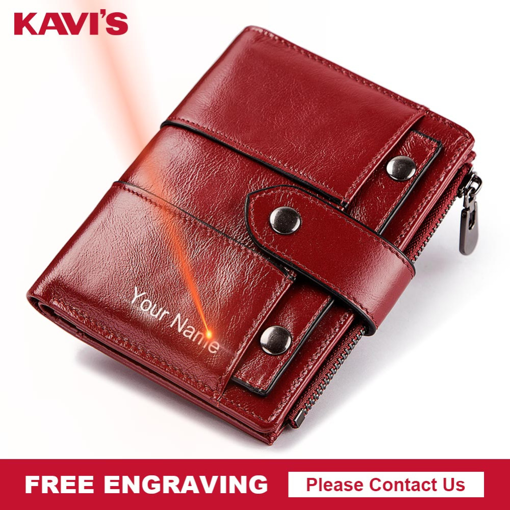 KAVIS Free Engraving Genuine Leather Wallet Women Vintage PORTFOLIO Female Portomonee Perse Coin Purse Handy Vallet For Girls