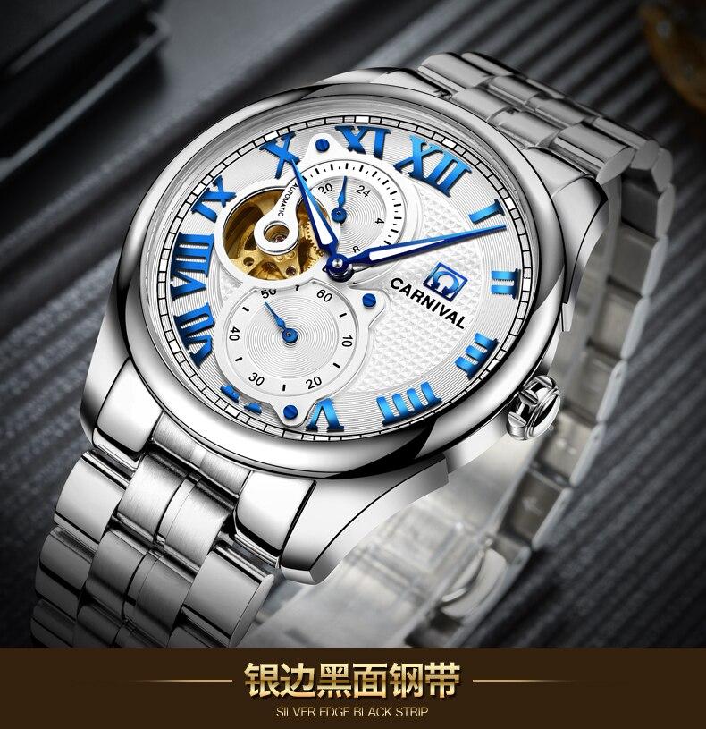 Reloj Automático de Carnaval para hombre, reloj corto, segundero pequeño, Dial Roma, números, reloj mecánico de lujo, hueco - 6