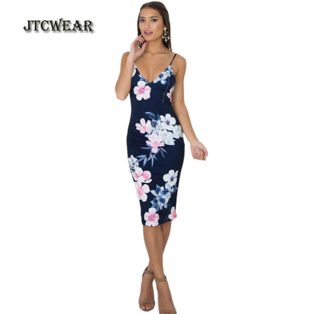 d31cc9451c6d JTCWEAR Summer Woman Sexy V Neck Slip Dress Backless Sleeveless Slim Fit  Floral Party Night Club Casual Bodycon Sheath Dress 198