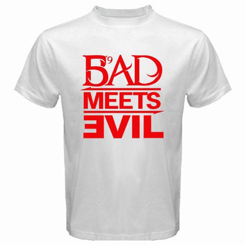 orangetshirt Store Новый Рэп Хип-Хоп EMINEM Bad Meets Evil Значок мужская Белый футболка Размер S, Чтобы 2XL Высокое Качество Печатных Топы Hipster Т рубашка