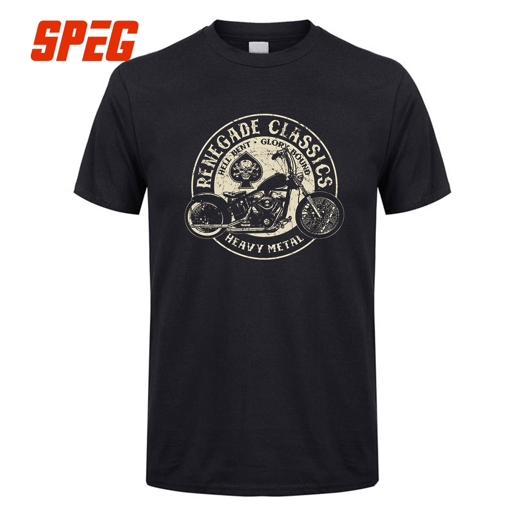 Glory Bounds Motorcycle USA T Shirt Heavy Metal Men Tees Crew Collar Top Short Sleeve 100% Cotton Plus Size Vintage T-Shirt