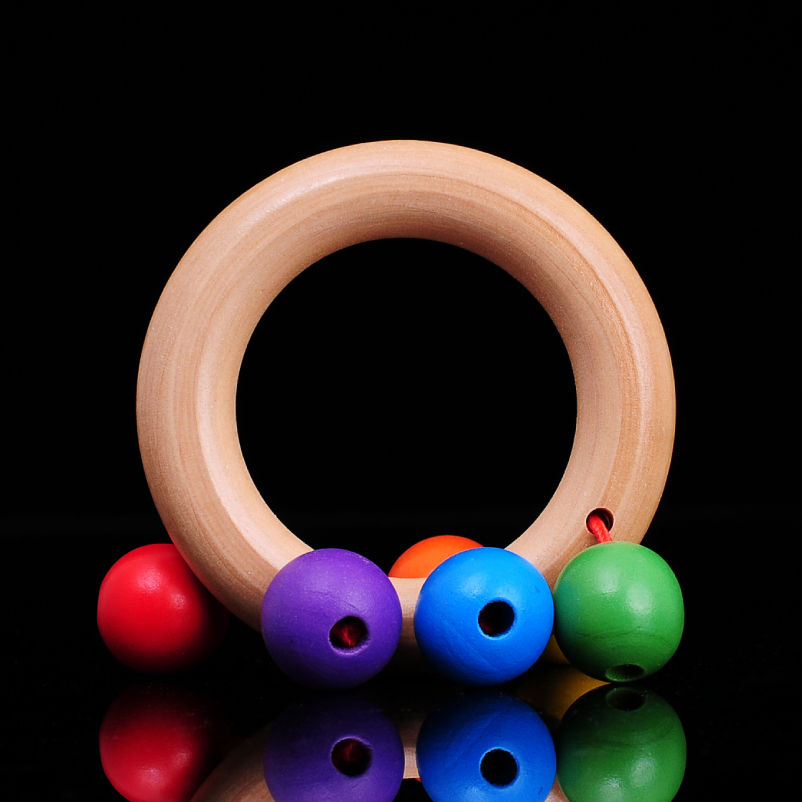 Free Shipping Children's Music Wooden Baby Hand Bell Toys, Rattles, With The Rainbow Bell Baby Wooden Toy