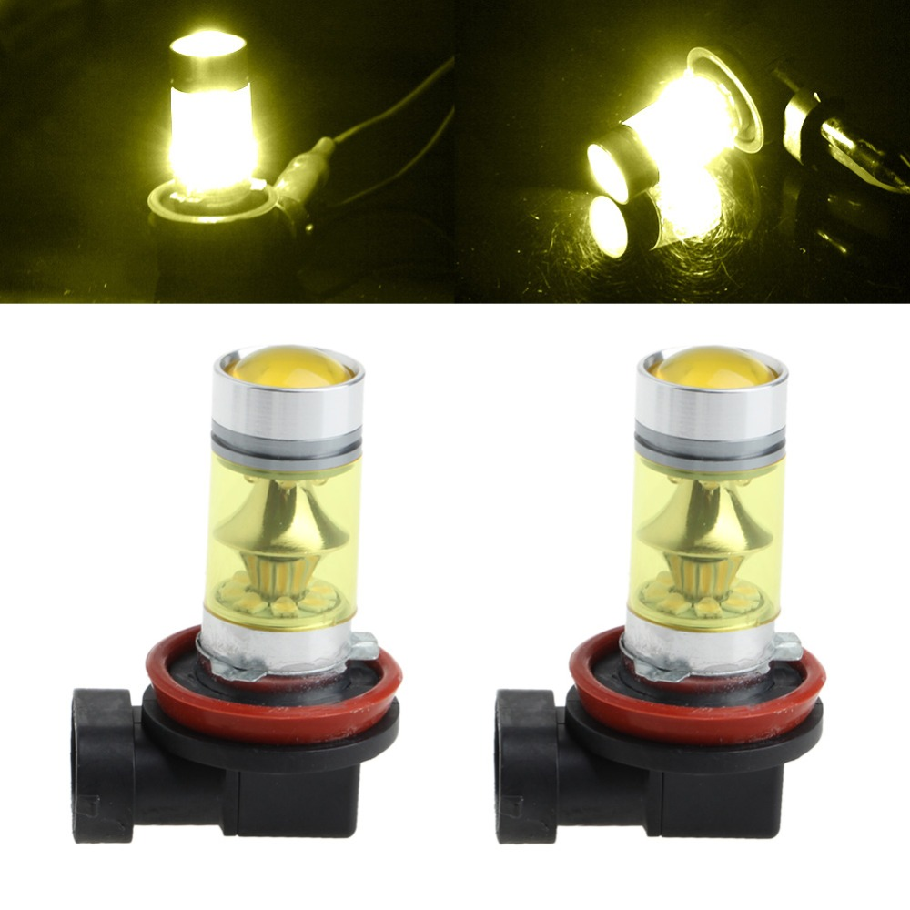 1 Pair 100W H11/H8 20 LED Fog Light 3030 Yellow Driving Bulb 9-30V PMMA lens External Lights