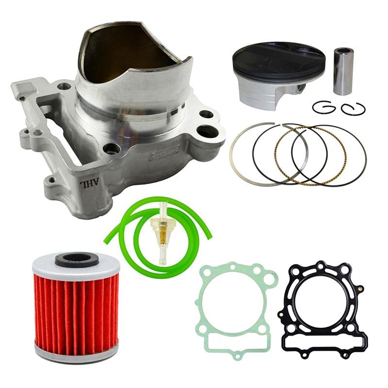 AHL Bore-Bloque de cilindro de aire de 77mm, pistón, anillos, tubo de aceite, filtro de aceite y Kit de filtro de combustible para Kawasaki KXF250 2004-2011
