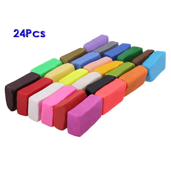 SDFC Mixed Colour 24 Soft Sculpey Oven Bake Polymer Clay Modelling Moulding Block UK