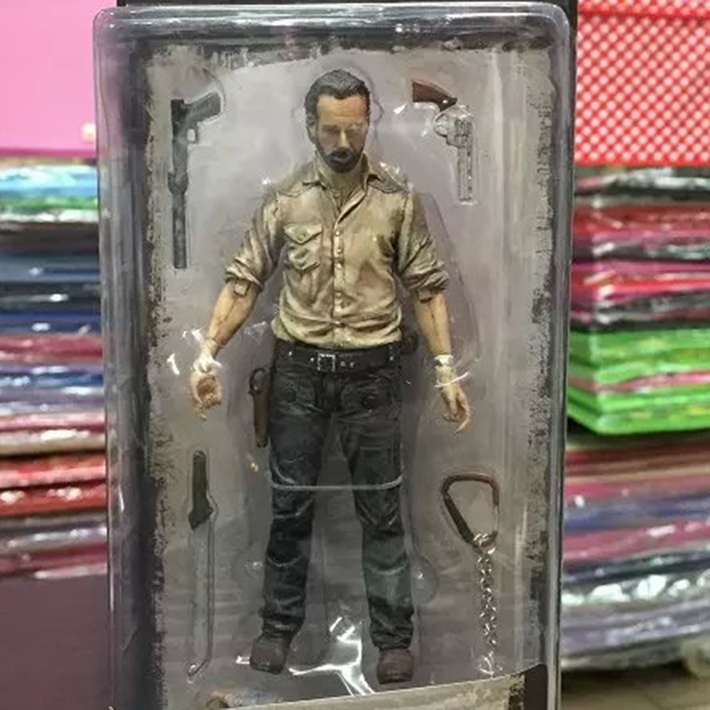 Anime The Walking Dead Rick Grimes Daryl Dixon Glenn Rhee Carl Grimes PVC Action Figure Collectible Model Toys 15cm
