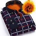 Camisa de flanela xadrez com 2015 homens em formal vestido camisa manga cashmere marca assuntos de negócios adicionar grosso frete grátis
