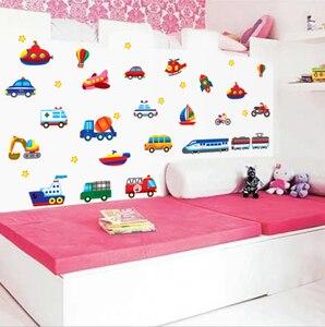 Image 5 - Creative רכב מטוס קריקטורה רכב קיר מדבקות לילדים חדר גן קישוט מדבקות DIY קיר מדבקה