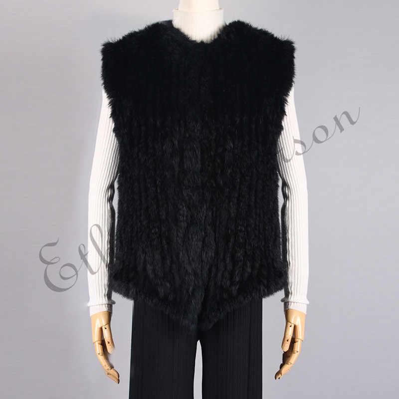 ETHEL ANDERSON của Phụ Nữ Bất Trang Trại Thỏ Lông Dệt Kim Vest Gilet Áo Giản Dị Áo Khoác Mỏng Bất Thường Ngắn Phong Cách Hàng Đầu