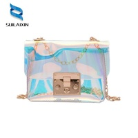 Crossbody Bags For Women Small Hologram Bag Diamond Shape Summer Beach Chains Jelly Laser Holographic Bags