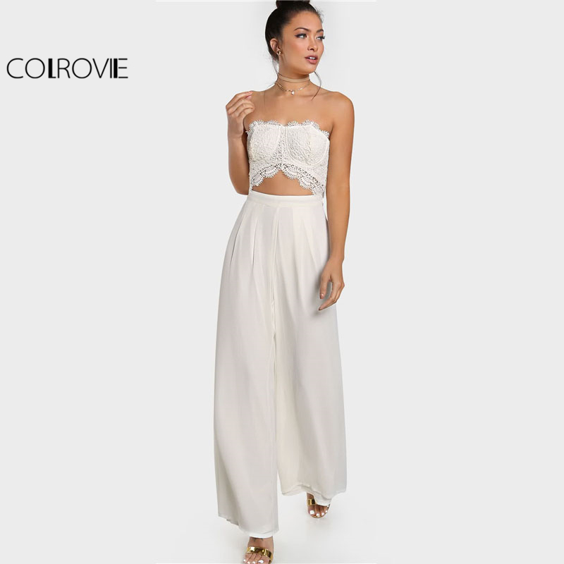 COLROVIE White Crochet Cut Out Strapless Jumpsuit Women Sleeveless Mid Waist Pleated Jumpsuit 2018 Zipper Sexy Party Jumpsuit ...