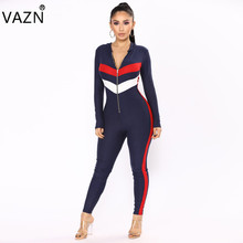 4cc4bbf22dce VAZN New 2018 Casual Full Sleeve Long Ladies Hooded Bodycon Jumpsuit B9060