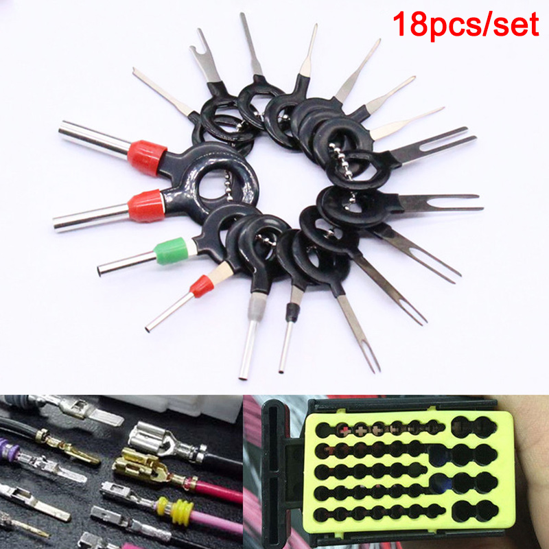 New 18 Pcs Car Wire Harness Plug Terminal Extraction Pick Connector Pin Remove Tool Set CSL2018