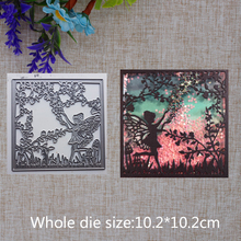 2019 New Arrival Square Fairy Jungle Grass Cutting Dies Stencil DIY Scrapbook Embossing Decor Paper Card  Craft 102x102mm 2019 new arrival lovely circle grass cutting dies stencil diy scrapbook embossing decorative paper card craft template 89x83mm