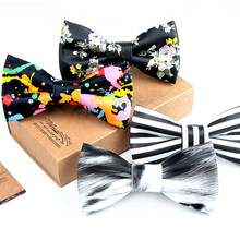0e5c6ac2f1f1 2018 hot Flower Striped Plaid Print PU Leather Bowtie Men Prom Wedding  Party Bow Tie Casual Male Suits Cravats Skinny Butterfly