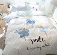 Cartoon cloud bedding set adult teen child,cotton full queen cute character home textiles flat sheet pillow cases duvet cover