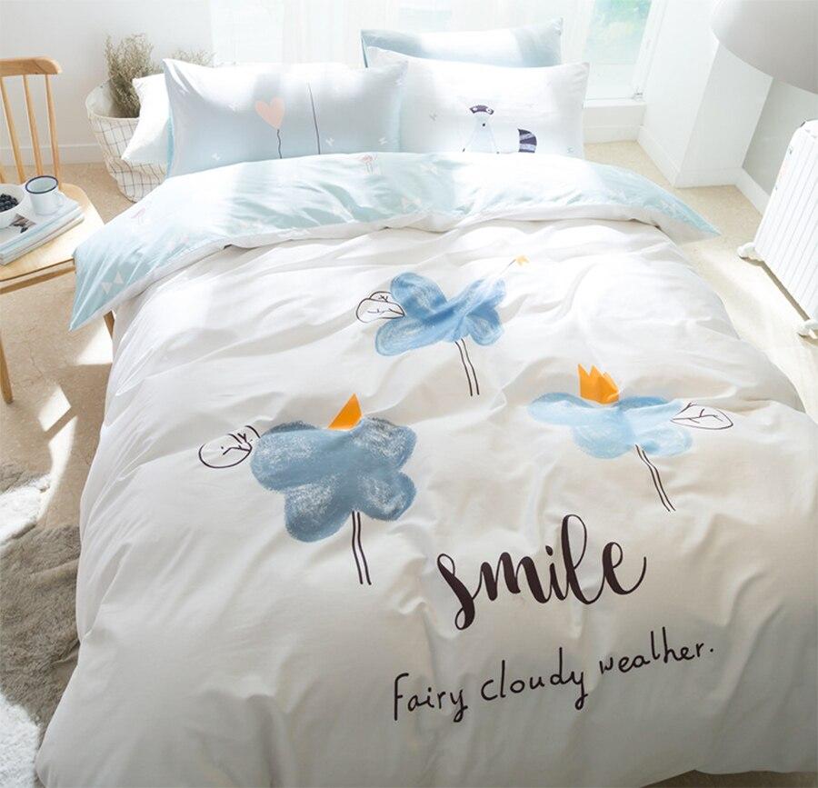 cartoon cloud bedding set adult teen childcotton full queen cute character home textiles flat