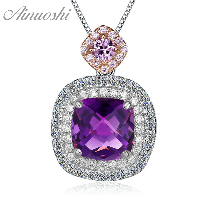 AINUOSHI Natural Amethyst Pendant 925 Sterling Silver Box Chain Necklace 2.5ct Cushion Cut Gems Pendant Necklace Women Jewelry