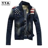 Top New Mens Jacket American Flag Suit Jeans Jacket PU Leather Patchwork Vintage Washed Distressed Casual Denim Jacket For Men