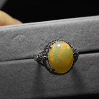 Genuine Natural Opal Stone Women Rings 925 Sterling Silver Engagement Wedding Ring For Ladies Size 7