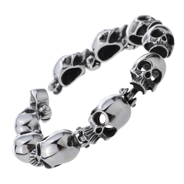 4a99d005b3dcd US $15.99 |Mens stainless steel skull skeleton link chain bracelet biker  heavy jewelry birthday gifts for dad him boyfriend D007 dropship-in Chain &  ...