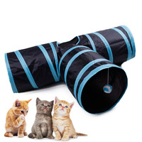 Cat Tunnel Tube 3 Way Black Extensible Collapsible Cat Play Tunnel Toy Cat House with Small Ball for Cat Puppy Kitten Rabbit