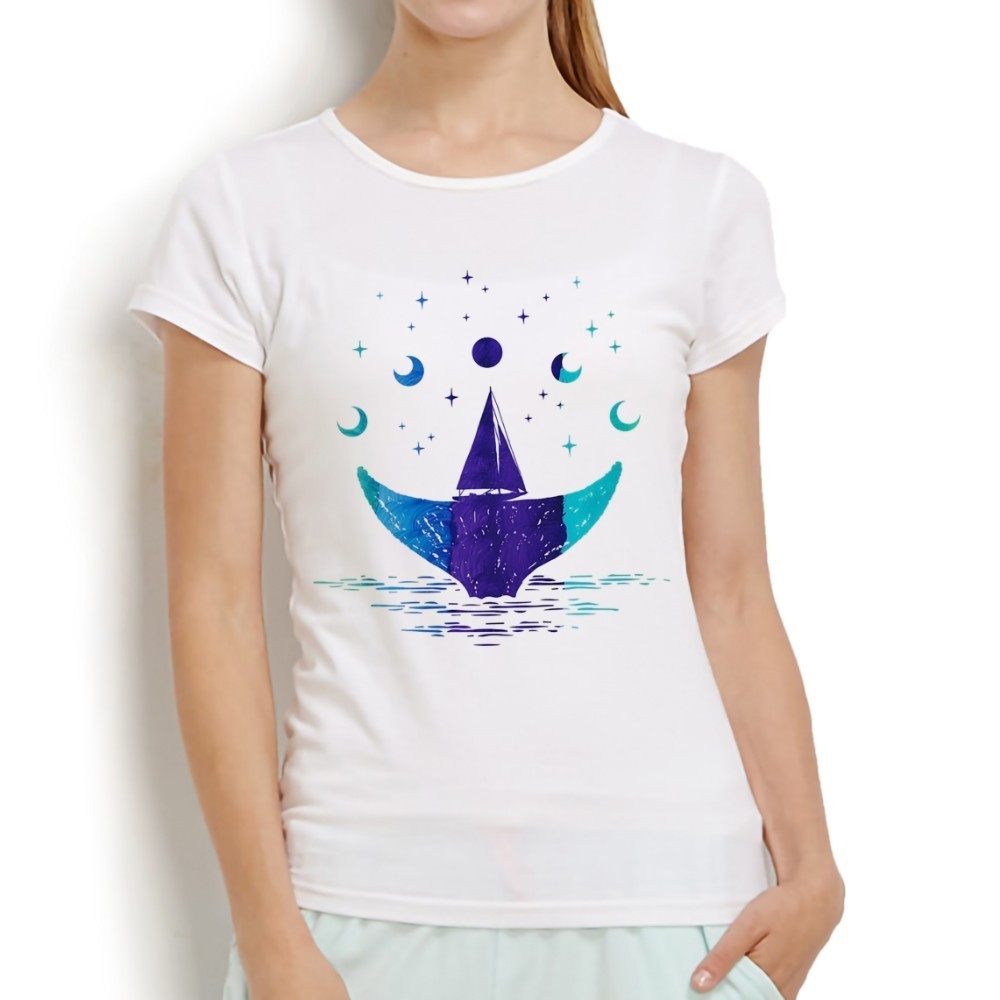 c45e582c12d moon phases and whale tail Symbol cool tshirt women 2018 new white casual  short sleeve o
