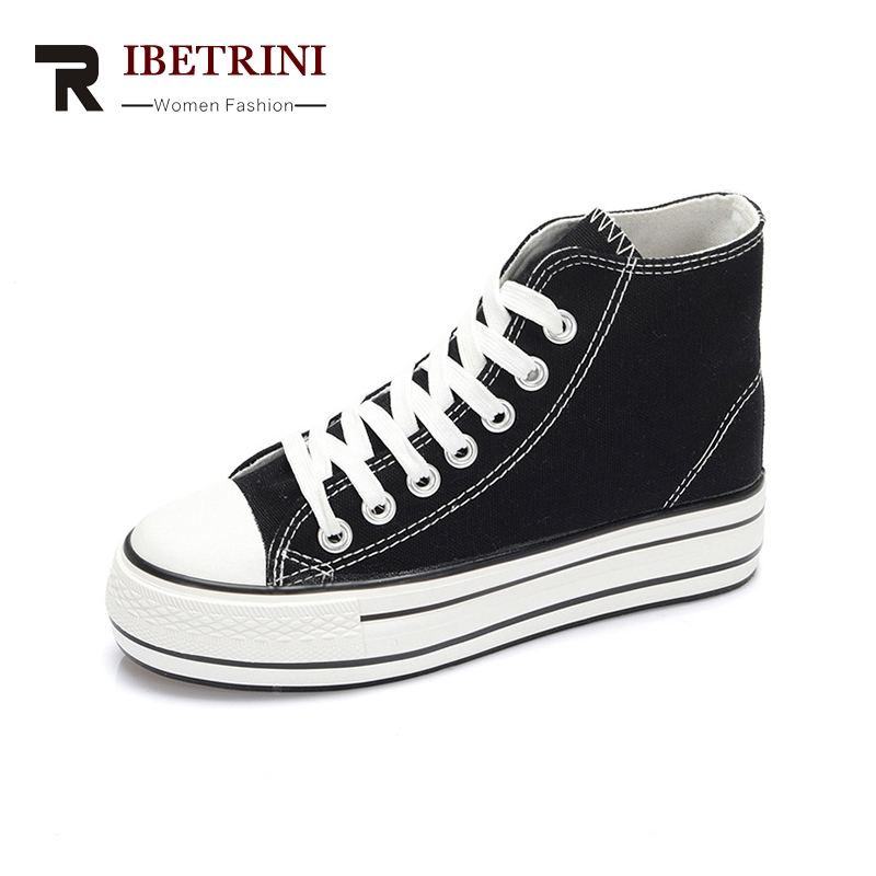 RIBETRINI 2018 Fashion Spring Summer Vulcanized Shoes Woman Lace Up Wholesale Sneaker White Black Woman Shoes Women Size 35-39