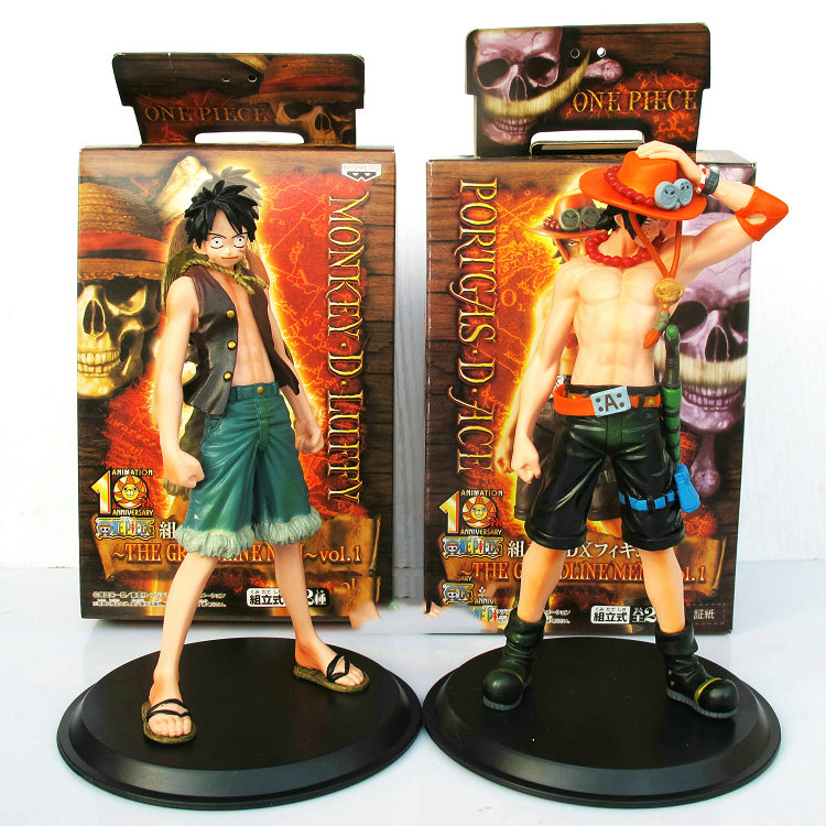 2pcs/lot New Japan <font><b>Anime</b></font> <font><b>One</b></font> <font><b>Piece</b></font> <font><b>Monkey</b></font>.<font><b>D.</b></font><font><b>Luffy</b></font> Portagas D Ace <font><b>PVC</b></font> Action Figure Set Toys Gifts