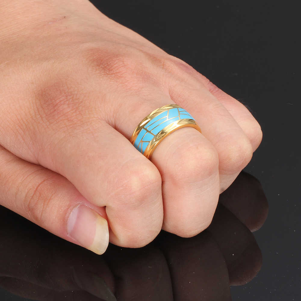 ขนาด 7-12 ผู้หญิงผู้ชายเครื่องประดับสแตนเลสสตีลแหวนแฟชั่น Minimalist ออกแบบชุบทองเคลือบสีน้ำเงิน Mens แหวน