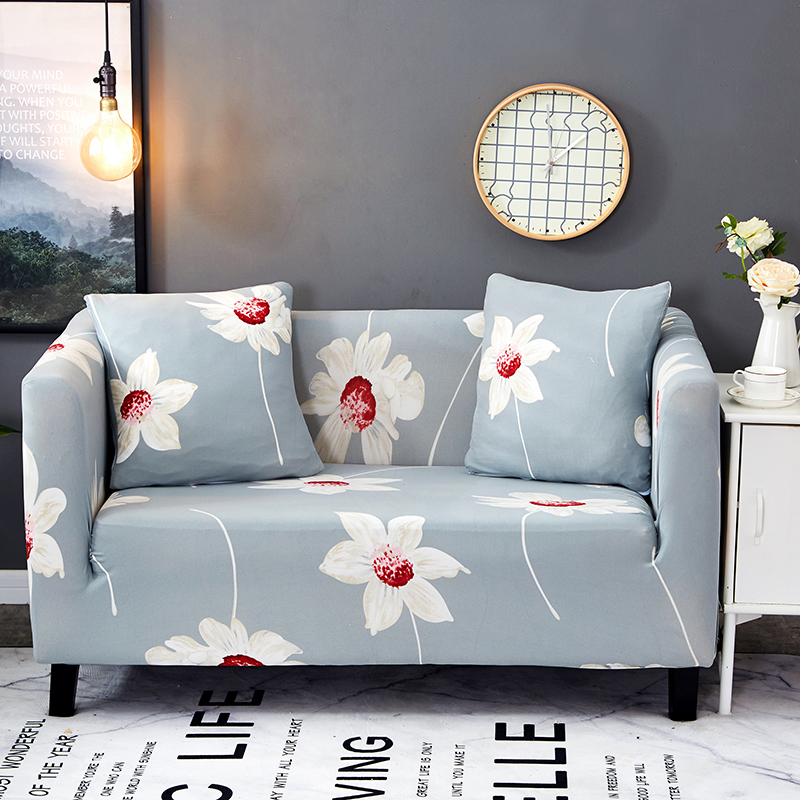 Light Blue Flowers Couch Sofa Covers For Living Room 100%