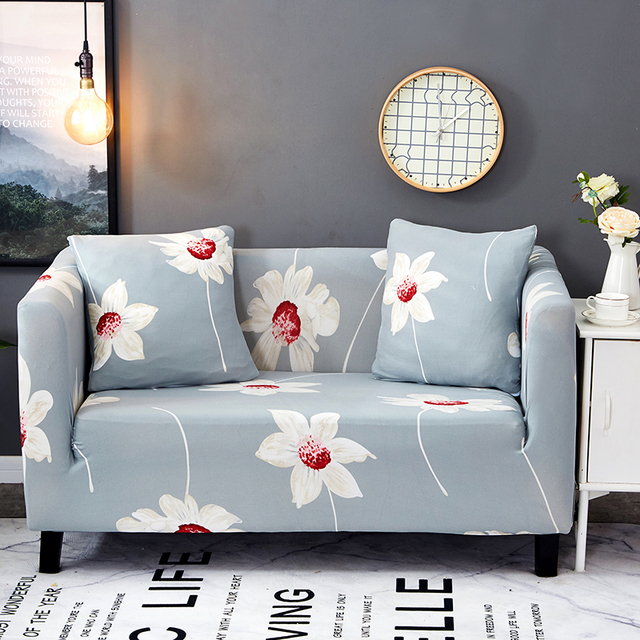 Light Blue Flowers Couch Sofa Covers For Living Room 100 Polyester Rh Aliexpress Com