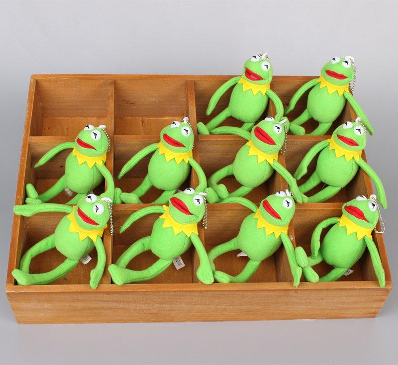 Cartoon Sesame Street Kermit Frog Plush Pendant With Keychain Cute Mini Frog Stuffed Animals 17 CM