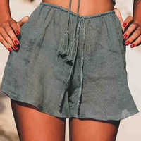 High Street Stylish Elastic Waist Girl Rayon Shorts Perspective Thin Shorts Womens Summer Casual Holiday Beach Lace Up Short